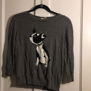 Grey sweater with dog picture